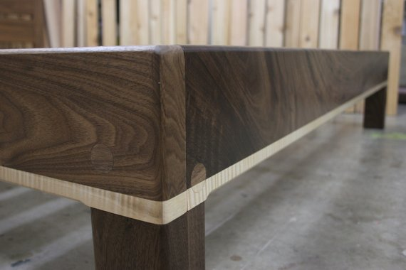 Curly Maple and Walnut Queen Platform Bed Frame with Truly Natural