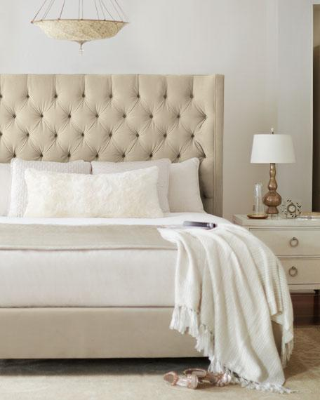 Beige Diamond Tufted Queen Bed