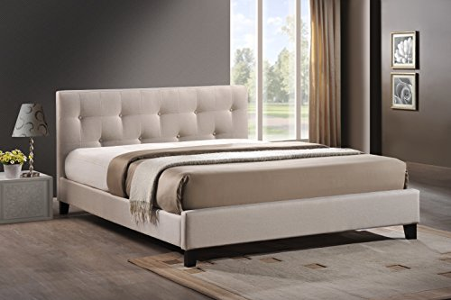 Amazon.com - Baxton Studio Annette Linen Modern Bed with Upholstered