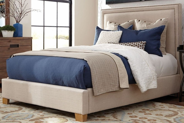 Madeleine II Beige Upholstered Queen Bed With Nailhead Trim