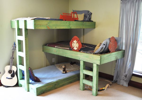 Hand-crafted triple bunk beds for the kids