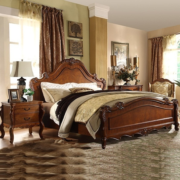 American Country Style Home Furniture Bedroom Queen King Size Carved