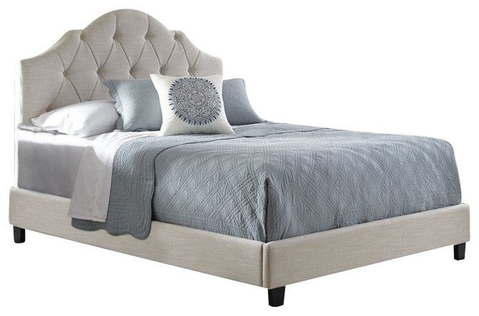 Modern Cream Colored Upholstered Bed with diamond shaped button