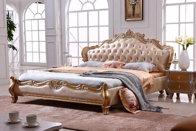 European style king size golden color Leather beds bedroom furniture