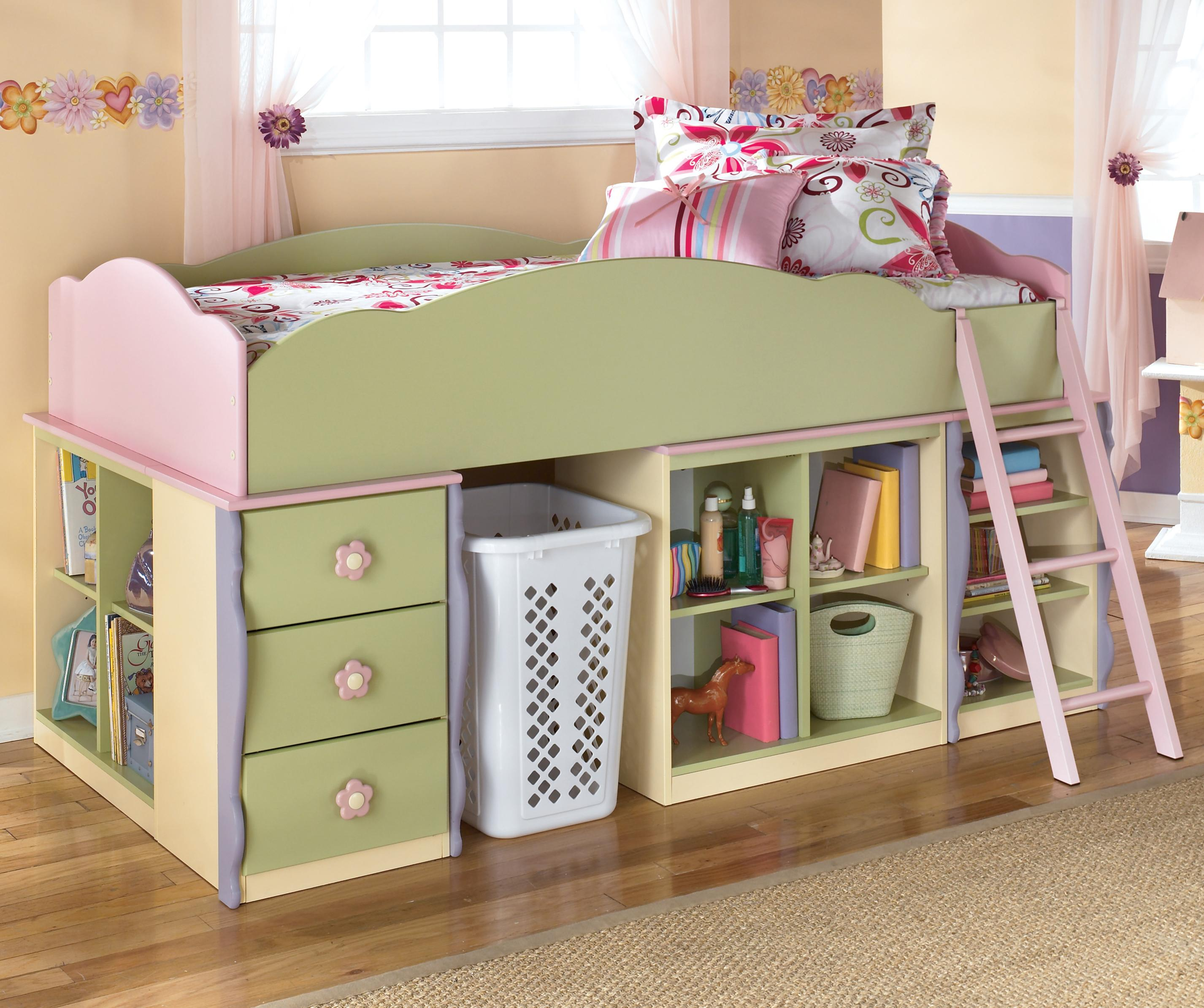 Doll House Loft Bed with Bin Storage & Space for Basket by Signature Design  by Ashley