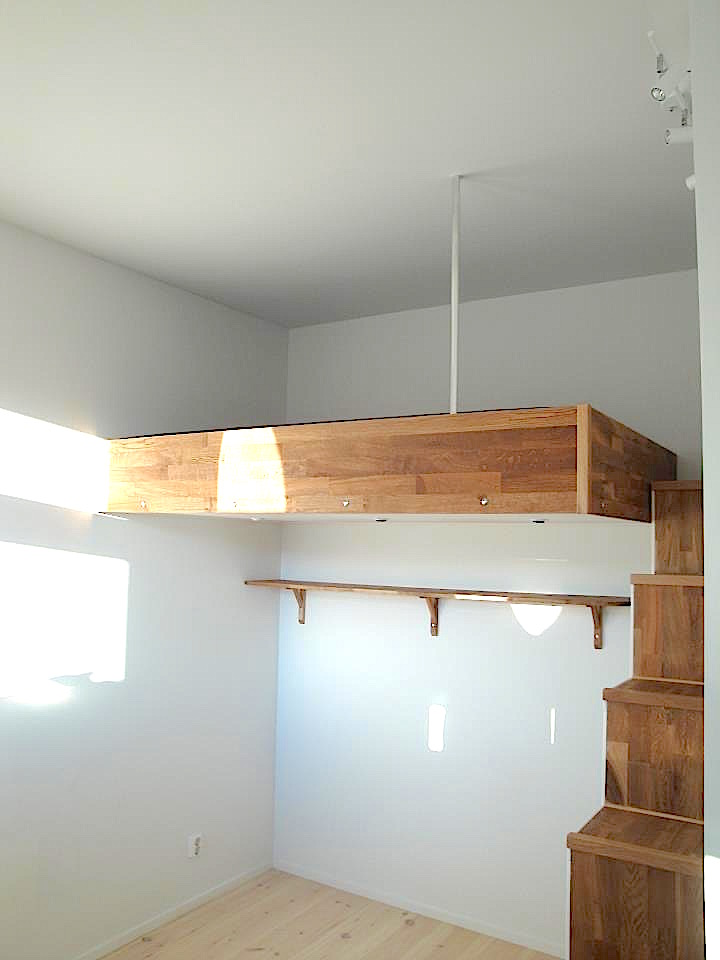 loft bed box room with storage stairs