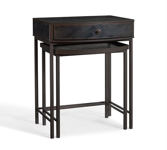 Woodrow Metal Nesting Nightstand, Set of 2 | Pottery Barn