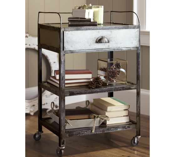 Metal Rolling Cart Nightstand | Pottery Barn