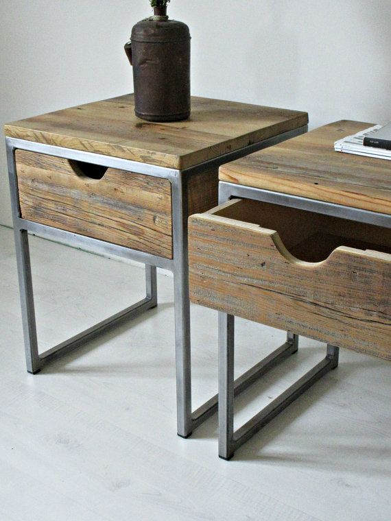 Industrial Bedside Table, Wood and Steel Nightstand: Rustic