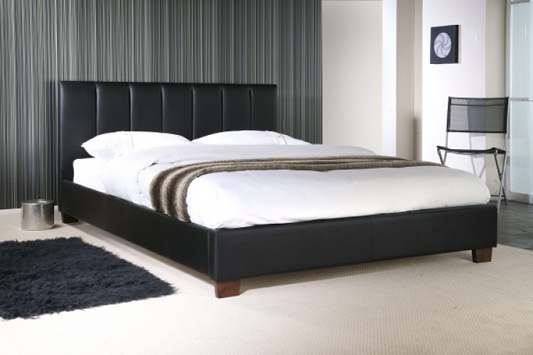 Limelight Pulsar Black 4ft6 Double Faux Leather Bed Frame by Limelight Beds