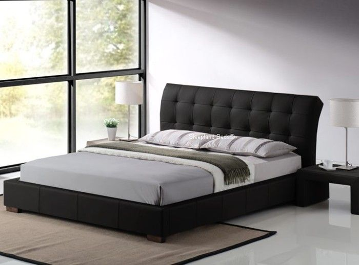 Boston Contemporary Black Faux Leather Bed Frame - 5ft Kingsize | Bedroom  Decor | Bed Frame, Leather bed, Bed