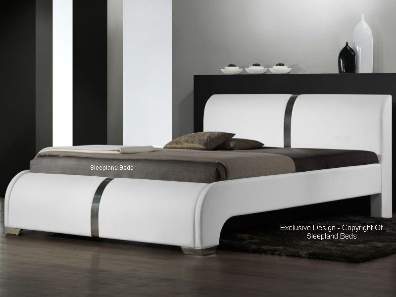 Sleepland Ebony Modern Leather Bed