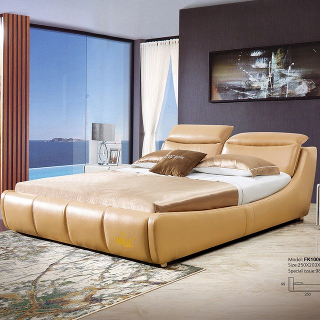 Orange double beds modern royal genuine leather bed with bedside
