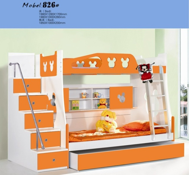 MDF Panels Children Bed Full New Bunk Bed with Stairs Orange Colour