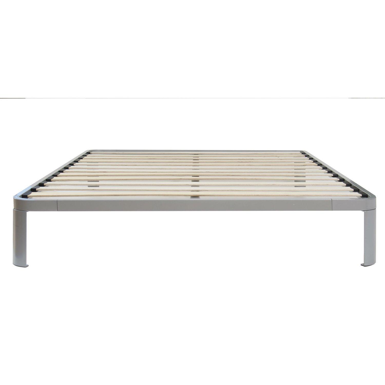 Full size Luna Metal Platform Bed Frame with Wooden Slats Lamelles De Bois,  Plate-