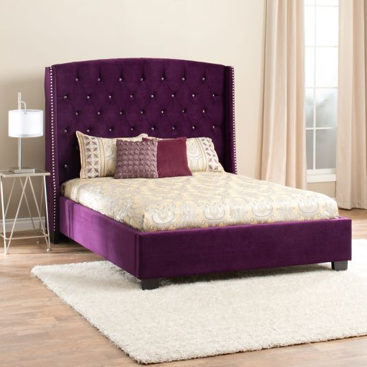 Purple Upholstered Bed | Diva Queen Bed | Jerome's
