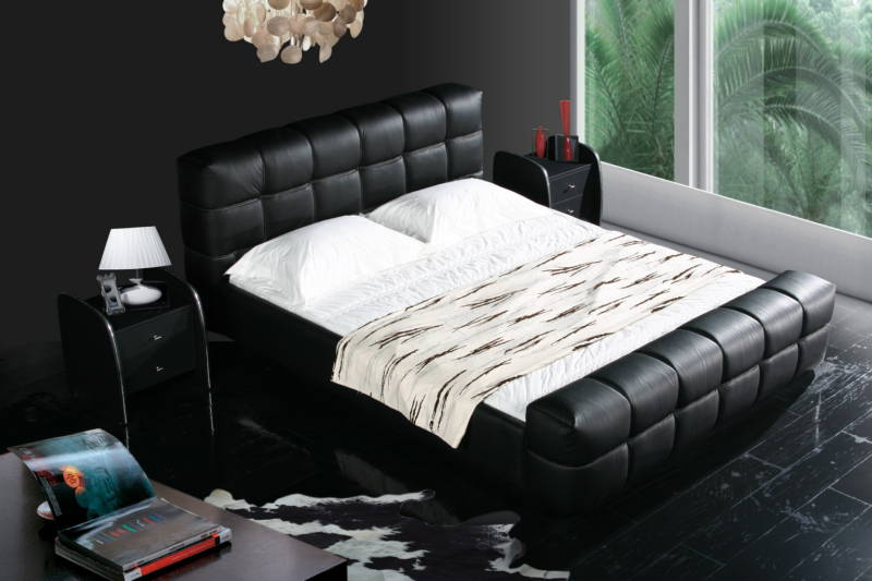 black color real genuine leather bed / soft bed/double bed king size