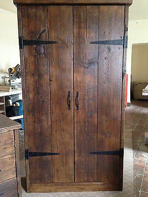 HandMade Chunky Rustic Reclaimed Wood Plank Double Wardrobe Warm Oak