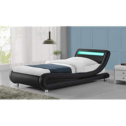 Madrid LED Lights Modern Designer Bed Frame- Black Single Size (Single 3ft,  Black