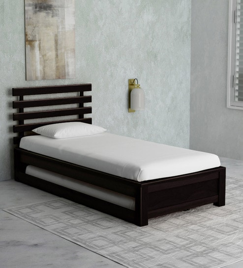 Stigen Solid Wood Single Bed with Trundle in Warm Chestnut Finish by  Woodsworth