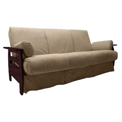 Savannah Perfect Futon Sofa Sleeper - Mahogany Wood Finish - Epic