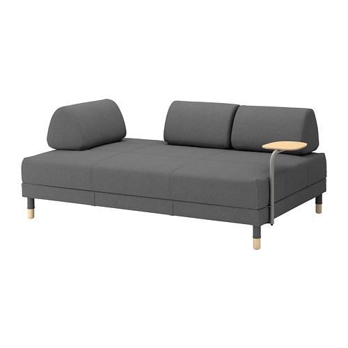 FLOTTEBO Sleeper sofa with side table, Lysed green | IKEA | Sofa