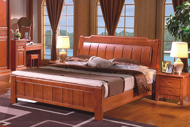 High Quality China Guangdong furniture Solid Wood frame Bed Bedroom