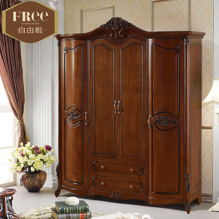 Buy Solid wood wardrobe closet four American country oak wood