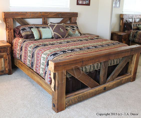 Timber Trestle Bed u2013 Rustic Bed Reclaimed Wood Bed- Barnwood Bed