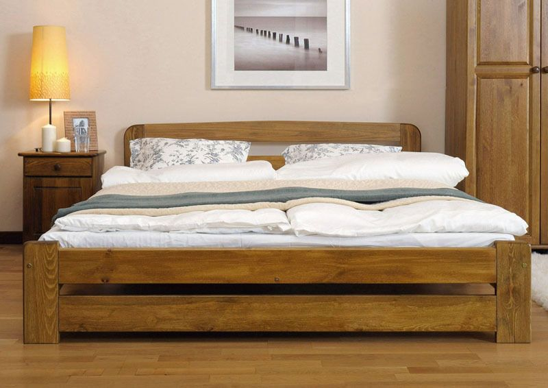 New Solid Wooden King Size Bed Frame ONE Pine Walnut Oak Alder