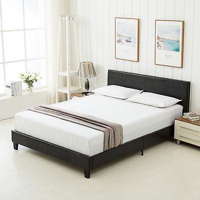 DFM Faux Leather Platform Bed Frame & Slats Upholstered Headboard