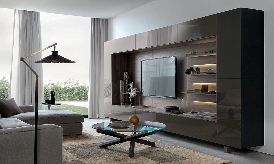View in gallery Lovely underlit shelves add elegance to the gorgeous wall  unit system