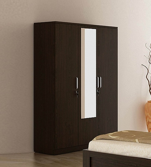 Buy Kosmo Weave Three Door Wardrobe with Mirror & Drawer in Vermount