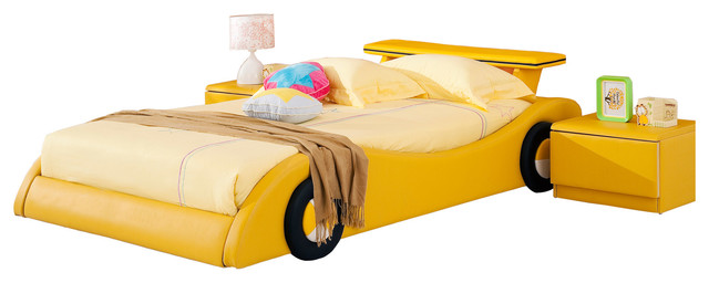 Yellow Leather Rider Kids Car Bed - Contemporary - Kids Beds - by