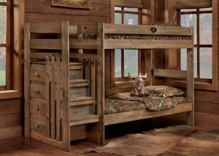 5989 Mossy Oak Bunkbed - Twin/Twin Complete Stairstep Bunkbed