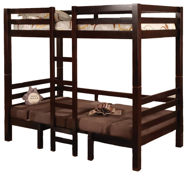 Twin Over Twin Convertible Bunk Loft Bed Youth Bunkbed Table Bench