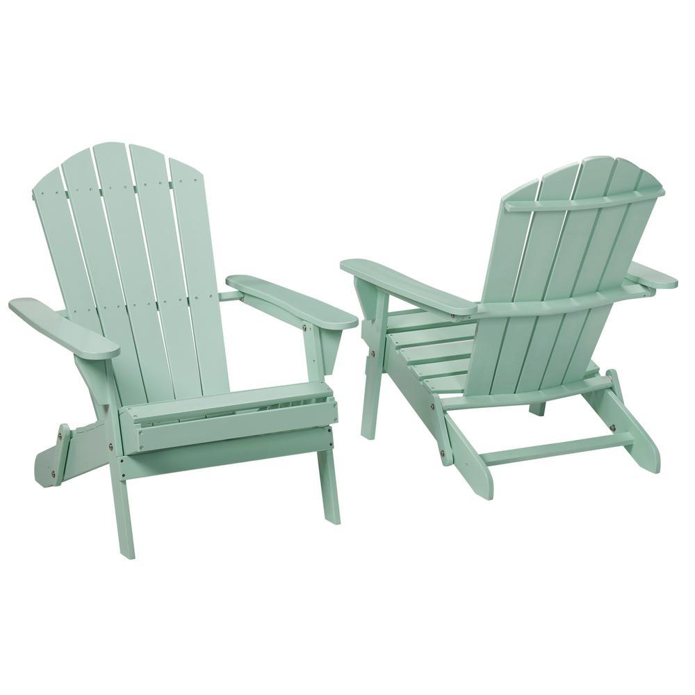 Hampton Bay Mist Folding Outdoor Adirondack Chair (2-Pack)
