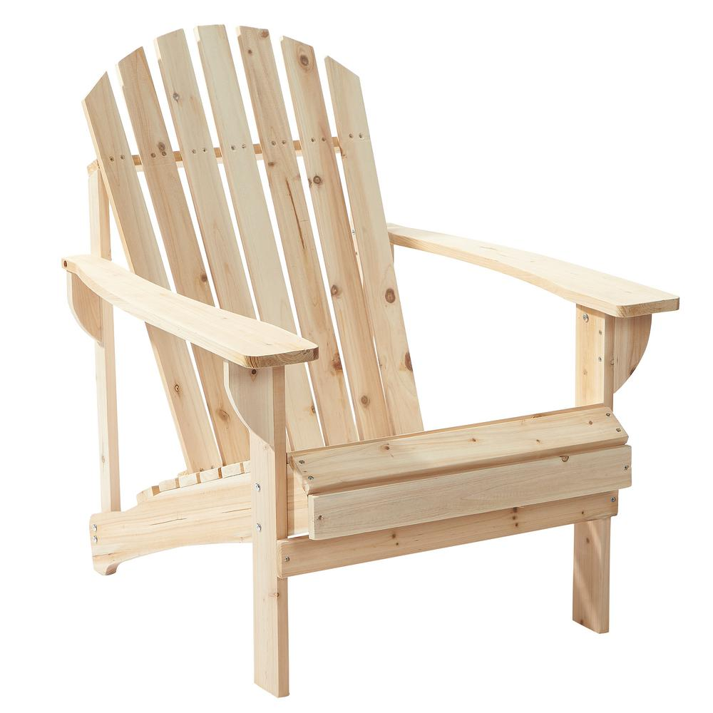 Unfinished Stationary Wood Outdoor Adirondack Chair (2-Pack)