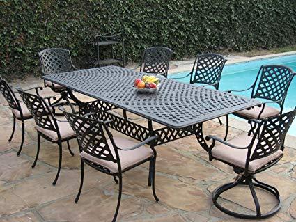 Traveller Location: Cast Aluminum Outdoor Patio Furniture 9 Piece Extension Dining  Table Set with 2 Swivel Rockers KL09KLSS260112T: Garden & Outdoor