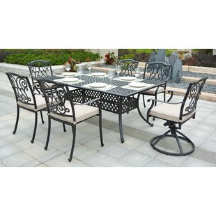 Christena Cast Aluminum 7 Piece Dining Set with Cushions