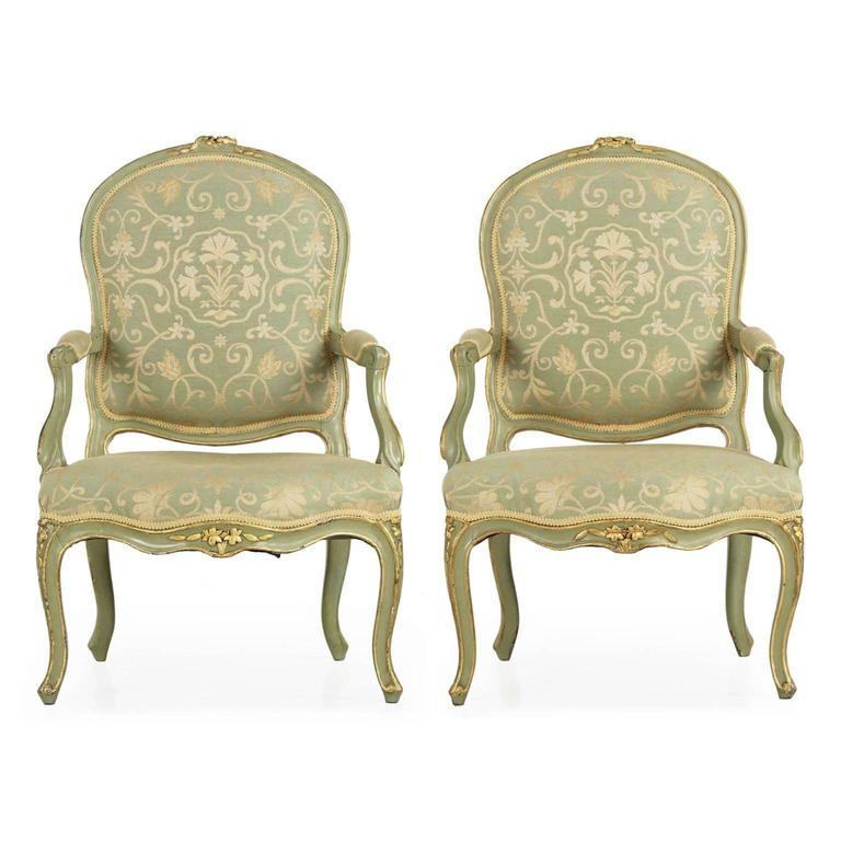 Pair of French Louis XV Style Green Painted Antique Armchairs, 19th Century  For Sale