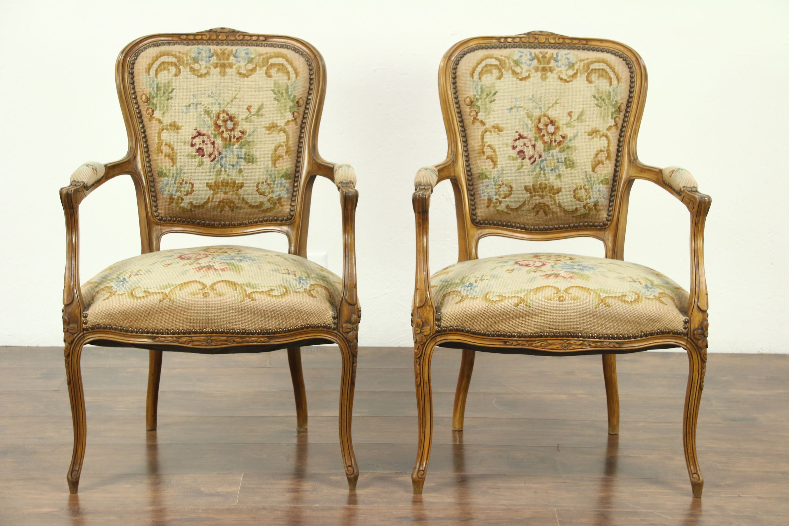 Pair of Carved French 1925 Antique Chairs, Needlepoint Upholstery - Harp  Gallery
