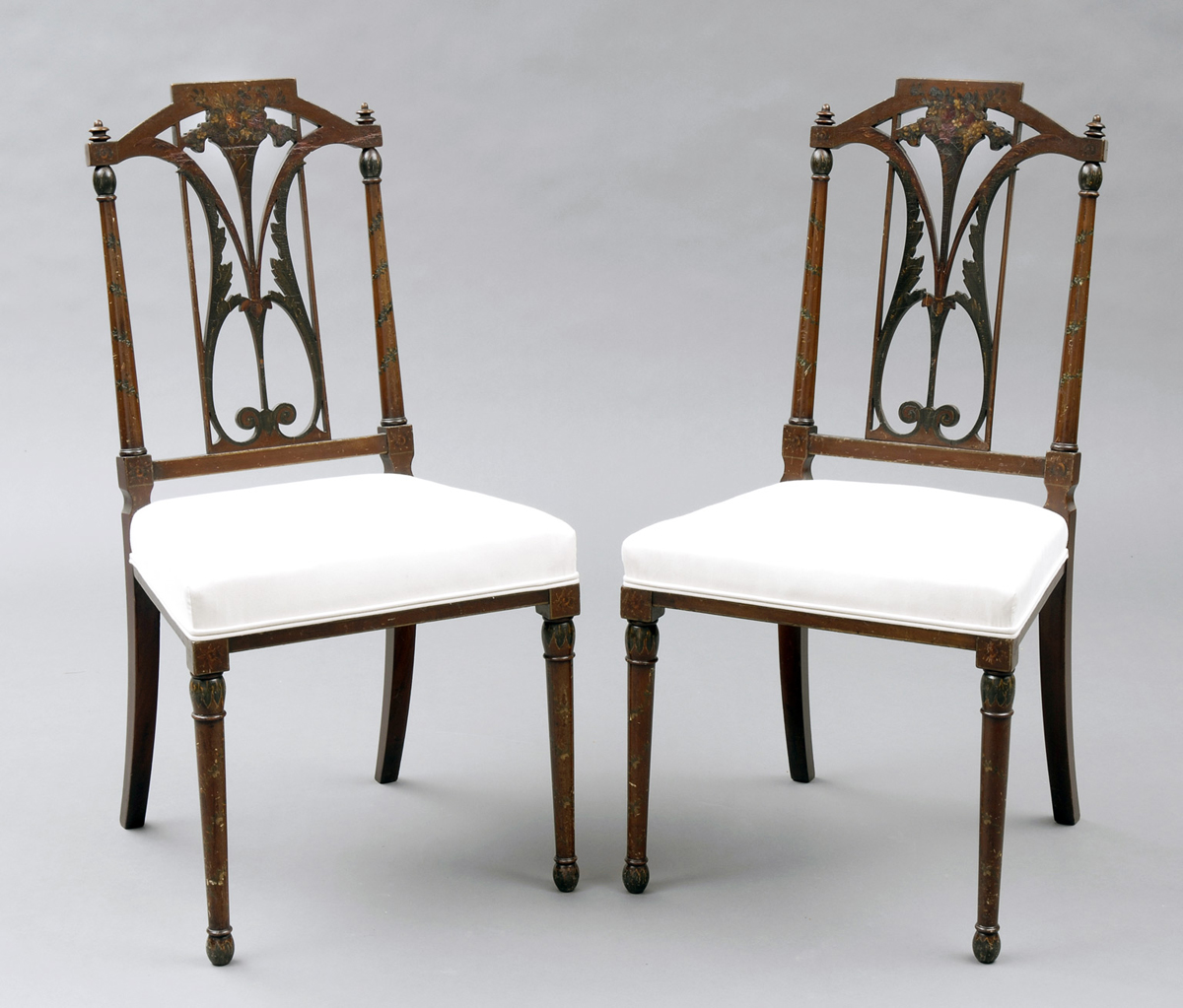 Pair English Antique Edwardian Side Chairs