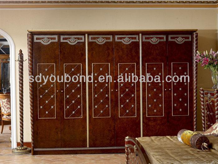 0026 European Style Antique Wooden Wardrobe Designs,Royal Bedroom
