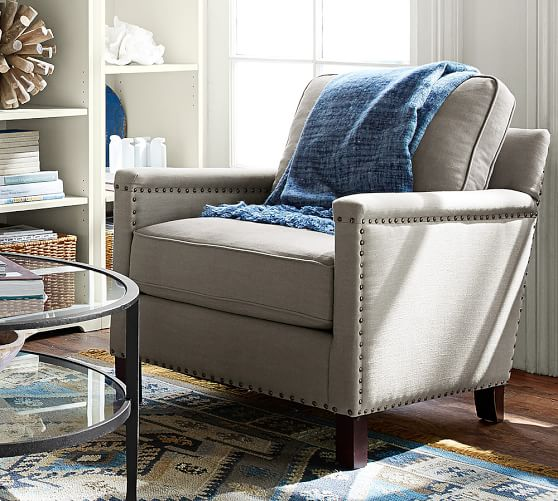 Tyler Upholstered Square Arm Armchair With Nailheads