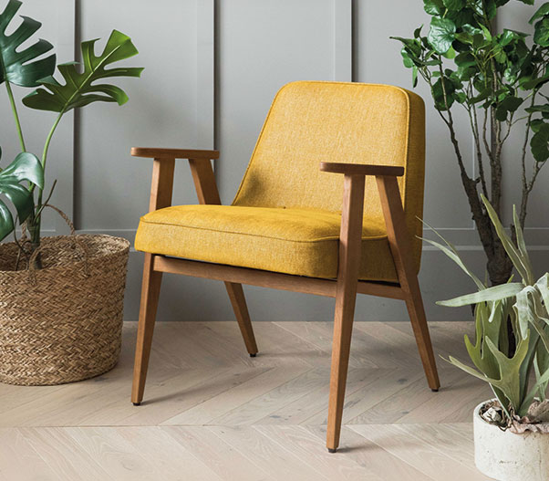366 Concept Retro Furniture 366 Armchair Wool Mustard with green plants  around