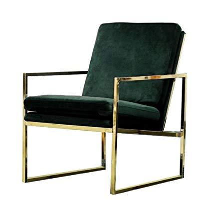 Mr.do Velvet Armchair Dark Green Single Lounge Chair Upholstered Arm Chair  Modern Furniture Home