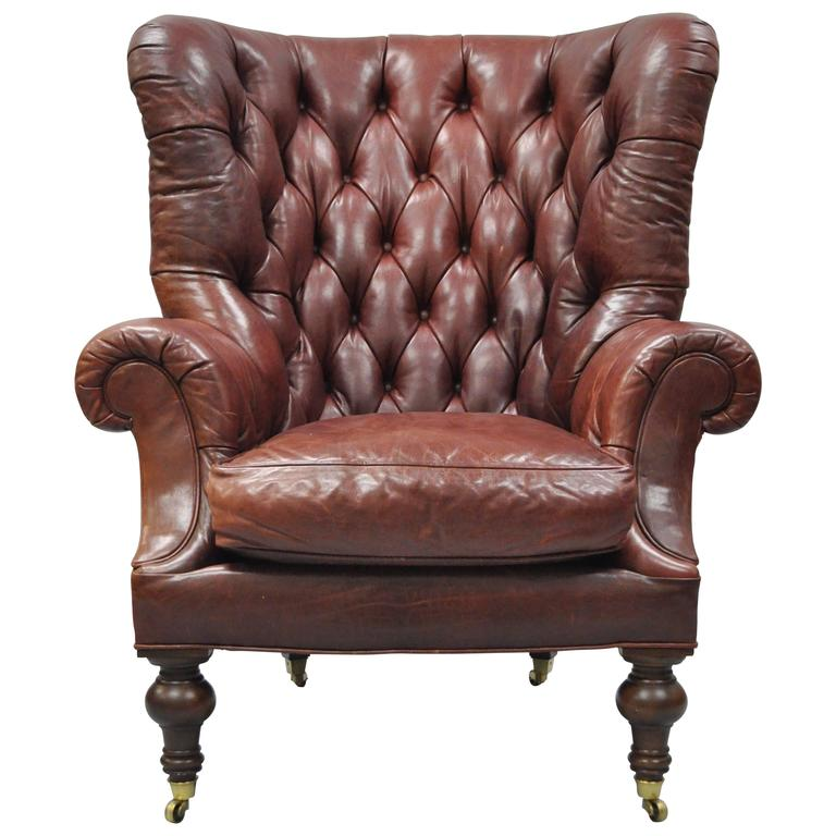 Oversized Lillian August Brown Tufted Leather English Chesterfield Wing  Chair For Sale