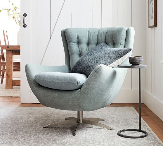 Wells Upholstered Swivel Armchair