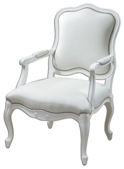 White Armchair White Enamel Carved Wood Frame Home Furniture Decor